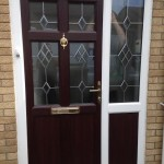 Vintage uPVC Front Door in Rosewood on White