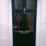 Green Vintage UPVC Door with Diamond Lead
