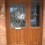 Light Oak Front Door with Bevel Glass