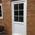 White UPVC Back Door with Georgian Bar